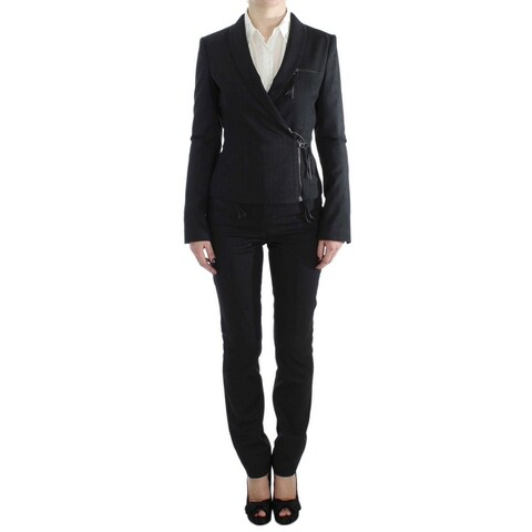 EXTE EXTE Gray Two Piece Suit Zipper Jacket Pants - it42-m