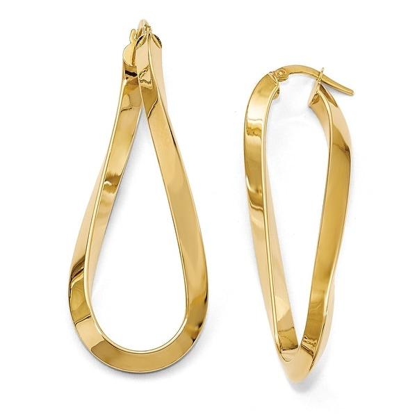 Italian 14k Gold Polished Twisted Oval Hinged Hoop Earrings