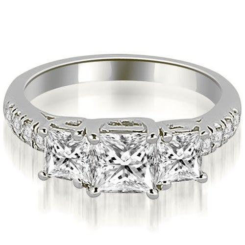 1.05 cttw. 14K White Gold Lucida Three-Stone Princess Cut Engagement Ring