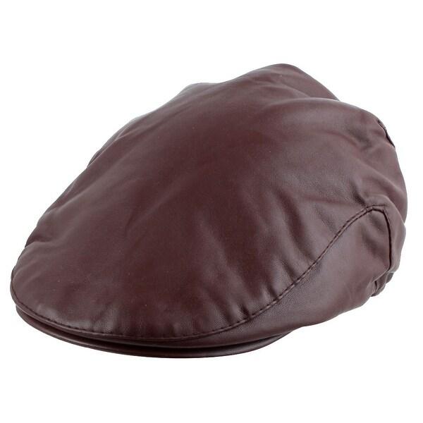 ea3090aca47 PU Leather Warm Newsboy Duckbill Ivy Cap Driving Flat Beret Hat Coffee Color