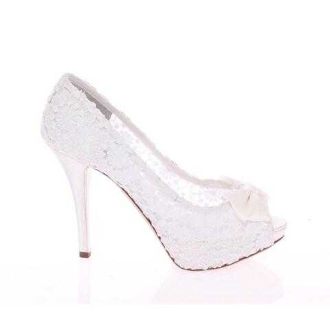 Dolce & Gabbana White Lace Platform Open Toes Pumps Shoes - 39