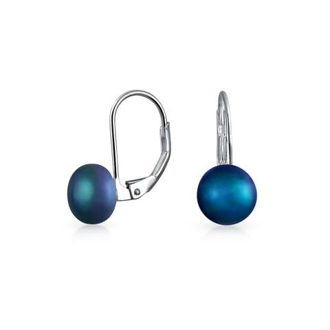Freshwater Cultured Pearl Ball Drop Earrings Sterling Silver
