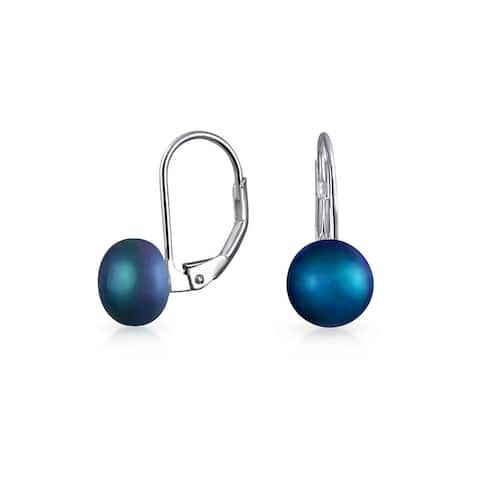 Simple Black Freshwater Cultured Pearl Leverback Ball Drop Earrings For Women 925 Sterling Silver
