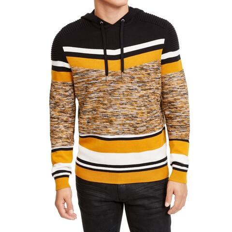 INC Mens Sweater Black Yellow Size 2XL Varsity Striped Spacedye Hoodie