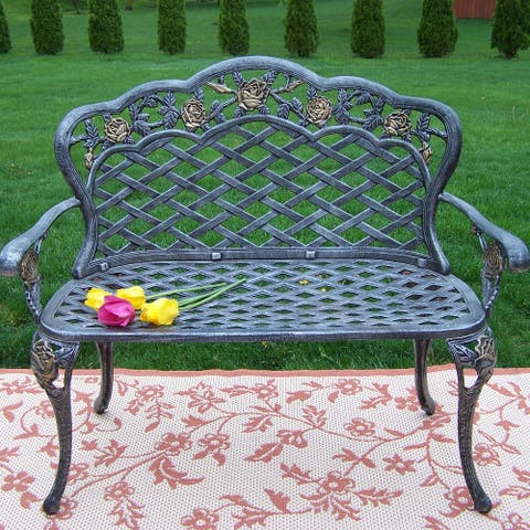 Outdoor Silver Black and Gold Cast Aluminum Rose Loveseat Bench