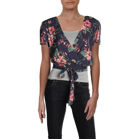 Aqua Womens Tropical Crop Top Floral Faux Wrap