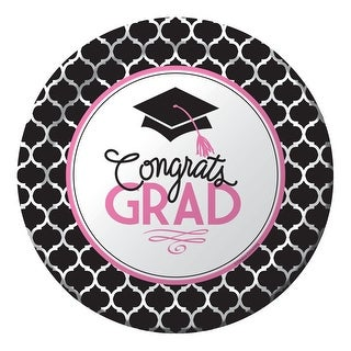 "Club Pack of 180 ""Congrats Grad"" Disposable Paper Graduation Party Dinner Plates 9"" - Black"