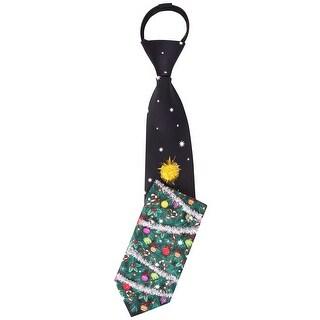 Noel Deck The Tree 3-D Readymade Ugly Christmas Zipper Tie Black Naughty or Nice