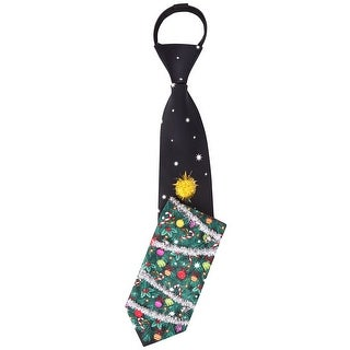 Noel Deck The Tree 3-D Ready Made Ugly Christmas Zipper Tie Black - One Size Fits most