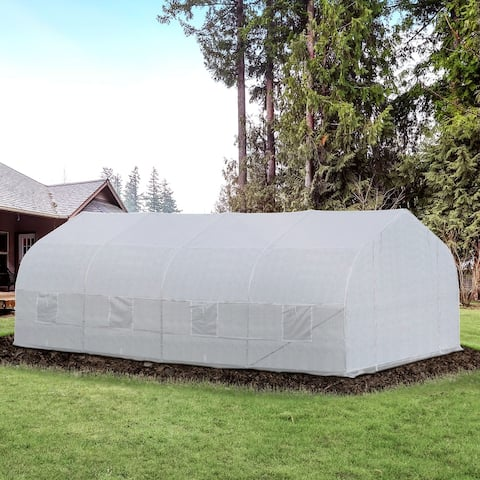 Outsunny 20 x 10 x 7 High Tunnel Walk-In Garden Greenhouse Kit with Plastic Cover & Roll-up Entrance - White