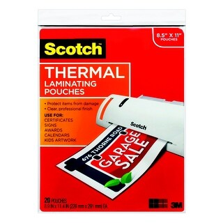 Scotch Thermal Laminating Pouch, 8-9/10 x 11-2/5 Inches, 3 mil Thick, Pack of 20