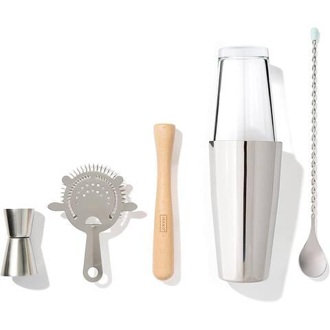 MAKO Bar Essentials Set with Boston Shaker, Stir Stick, Jigger, Muddler & Strainer - Silver