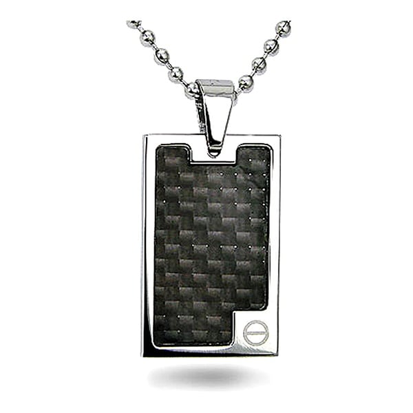 Stainless Steel Dog Tag with Carbon Fiber Inlay on 22 Inch Bead Chain