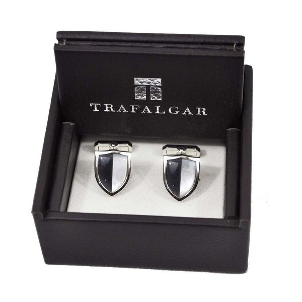 Trafalgar Sheild Cuff Links Gray/Crystal