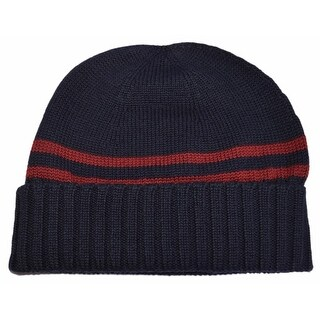 Gucci Men's 294731 Blue 100% Wool Red Stripe Beanie Ski Hat L