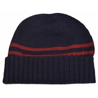 Gucci Men's 294731 Blue 100% Wool Red Stripe Beanie Ski Hat XL