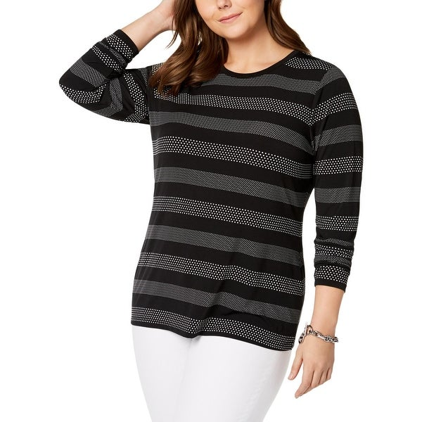 ff84e928adb Shop MICHAEL Michael Kors Womens Plus T-Shirt Casual Striped - 1X ...