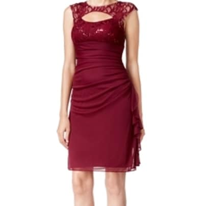 e5f72317 Shop Betsy & Adam NEW Reds Garnet Women's 6 Lace Cutout Sheath Dress - Free  Shipping On Orders Over $45 - Overstock - 18850325