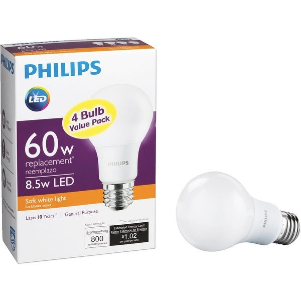 Philips 4Pk 8.5W A19 Led Sw Bulb