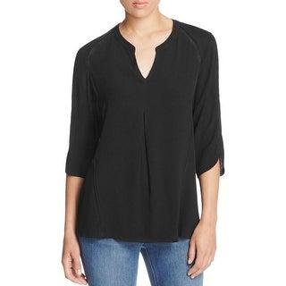 Black Rainn Womens Blouse Lace Trim 3/4 Sleeves