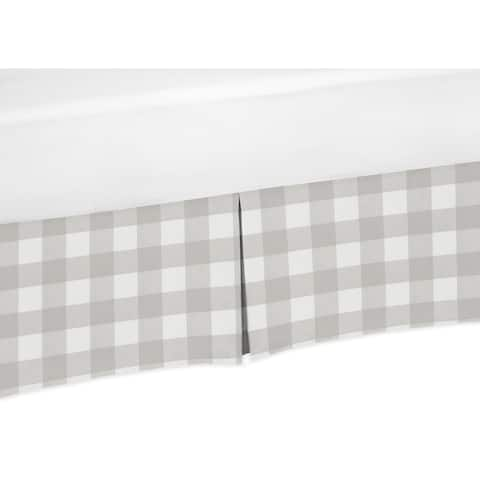 Grey Woodland Plaid Collection Boy or Girl Crib Bed Skirt - Gray White Rustic Buffalo Check Flannel Country Lumberjack