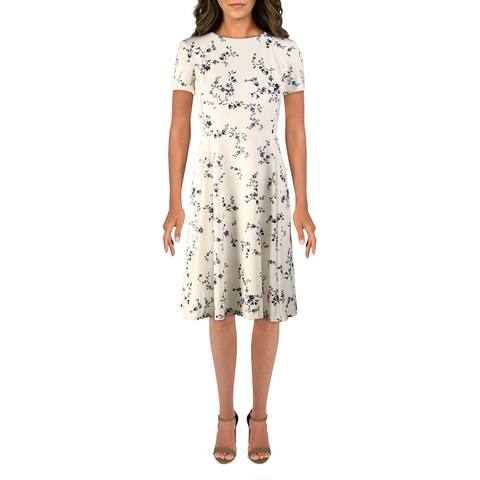 Lauren Ralph Lauren Womens Charley Wear to Work Dress Floral Print Short Sleeves - Cream/Blue Multi