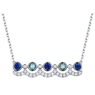 Prism Jewel 0.26Ct Blue Sapphire with Blue & White Diamond Necklace (3 options available)