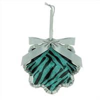 4.5 in. Glittered Teal Zebra Print Snowflake Prism Christmas Ornament