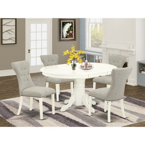 5-Pc Set Included a Butterfly Leaf Oval Dining Table & 4 Parson Chairs, Doeskin Linen Fabric, Linen White Finish