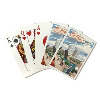 Chicago, Illinois - River View - Lantern Press Artwork (Playing Card Deck - 52 Card Poker Size with Jokers)