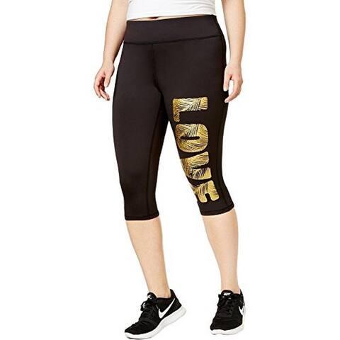 Material Girl Womens Plus Fitness Yoga Crop Leggings (Noir, 1X)