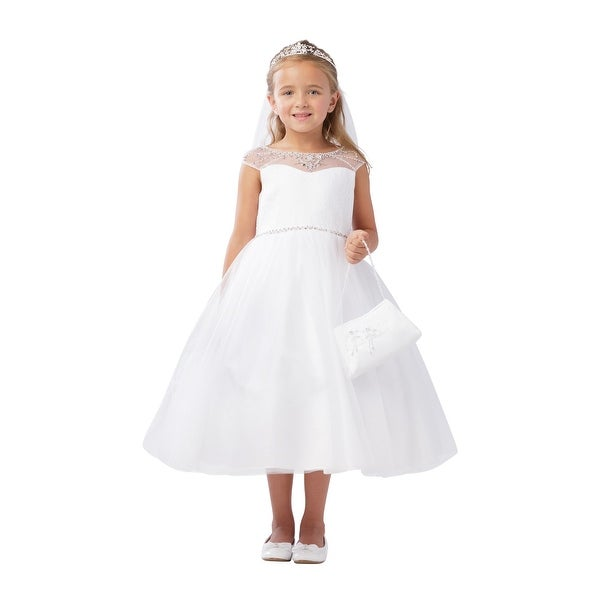 966a13b7c8 Shop Little Girls Ivory Illusion Neckline Pearl Adorned Waist Flower Girl  Dress - Free Shipping Today - Overstock - 21335750