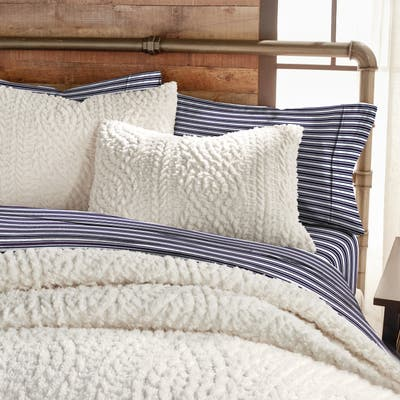 G.H. Bass Cable Knit Pinsonic Sherpa Comforter Set