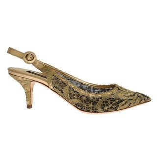 Dolce & Gabbana Gold Taormina Lace Slingbacks Shoes - 40