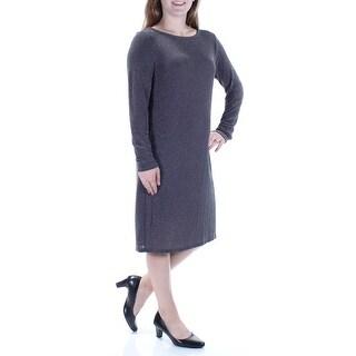 MICHAEL KORS $98 Womens New 1012 Gray Rhinestone Long Sleeve Shift Dress M B+B