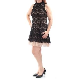 BETSY & ADAM $229 Womens New 2262 Black Lace Sleeveless Circle Dress 12 B+B