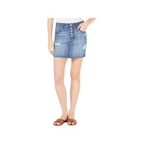Vanilla Star Womens Juniors Denim Skirt Distressed Mini - Kemal