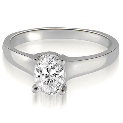 0.75 cttw. 14K White Gold Classic Lucida Oval Cut Diamond Engagement Ring