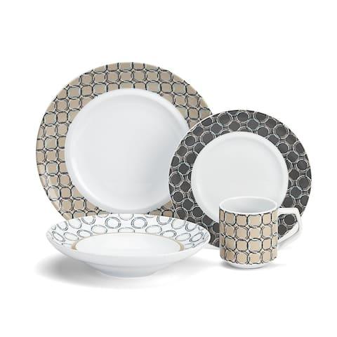 Cuisinart CDP01-S4C Chalais Collection 16-Piece Porcelain Dinnerware Set - White