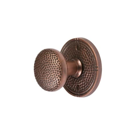 The Copper Factory CF181 Solid Copper Passage Door Knob Set with Round Rosette -