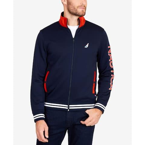 Nautica Mens Navy Blue Orange Size 2XL Full Zip Logo Track Jacket
