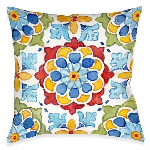 Mediterranean Medallion Blossom Outdoor Pillow