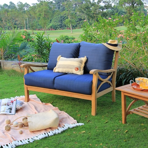 Lowell Teak Patio Loveseat with Cushion by Havenside Home
