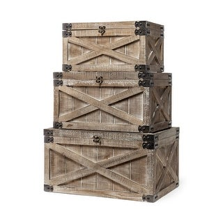 Link to Mercana Port Moody Set of Three Brown Wooden Decorative Boxes Similar Items in Home Office Furniture