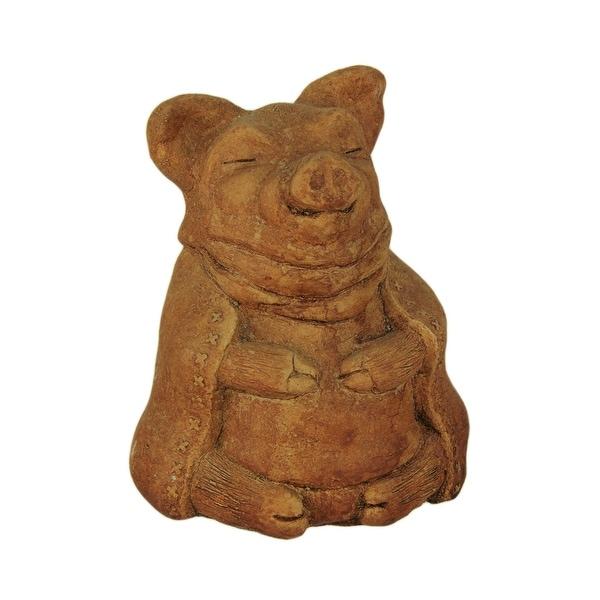 Designer Stone Rustic Brown Zen Pig Concrete Statue - 6 X 4 X 4 inches