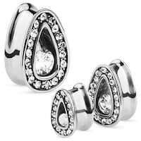 Single Set CZ with Multi Gemmed Rims 316L Surgical Steel Tear Drop Tunnel (Sold Individually)