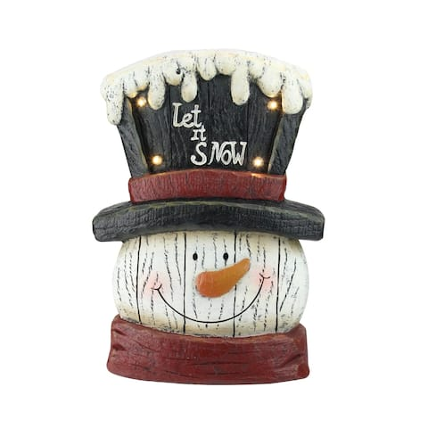 """13"""" Pre-Lit LED Snowman Weathered Table Top Christmas Decoration"""