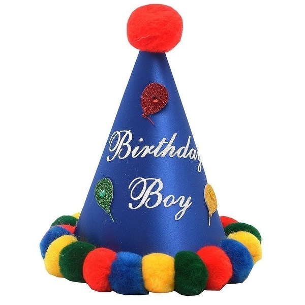 Shop Boys Royal Blue Red Pompom Glitter Balloon Cone