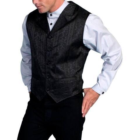 Scully Western Vest Mens Formal Lined Floral Stripe Polyester - Black