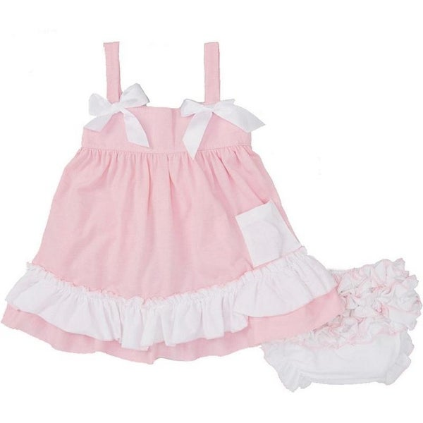 Wenchoice Baby Girls Pink White Dots Bow Ruffles Swing Top Set